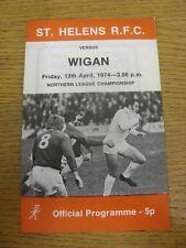 12/04/1974 programma Rugby League: ST. Helens V Wigan (Team modifiche). articolo INTER
