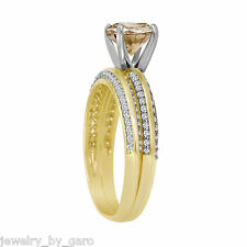 FANCY CHAMPAGNE DIAMOND ENGAGEMENT RING & WEDDING BAND SETS 14K YELLOW GOLD PAVE