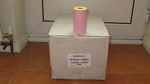 Thermal Pink Labels box Qty 50 Rolls Size is 101mm by 76mm