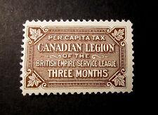 "CANADA "" BRITISH EMPIRE SERVICE LEAGUE"" CANADIAN LEGION  3 MONTH  MINT NH"
