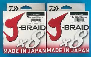 Daiwa J-Braid 300 Meter Dark Green 10 LB 15 LB 20 LB 30 LB 40 50 LB J-Braid x 8