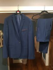 Moss London Mens Navy 2 piece Suit Jacket 42 inch Trousers W32R