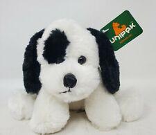 "Unipak Very Soft White and Black Laying Floppy Dog Plush 8"" Ruffles w/ Tag"