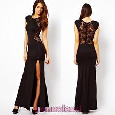 Abito vestito lungo donna inserti pizzo trasparente spacco aderente DL-857