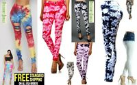 Juniors Women's tie dye Denim Jeans Destroy Skinny Stretch Distressed Pants jean