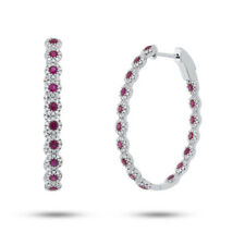 2.40 TCW 14K White Gold Natural Round Ruby Real Diamond Halo Oval Hoop Earrings