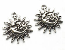 2 x Chunky Antique Silver Plated Sun Moon Face Charms Pendant Wicca Pagan, Craft