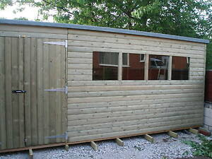 TANALISED PRESSURE TREATED PENT SHED 12X10 **BEST ON EBAY**