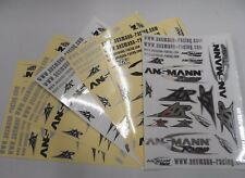 Over 120 Ansmann R/C Car Stickers/Decals: 6 Sheets: Black + Silver/White/Chrome