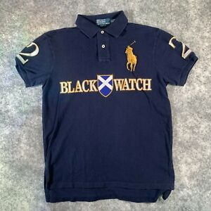 Ralph Lauren Polo Shirt Mens Medium Blue Blackwatch Scotland Big Pony N1