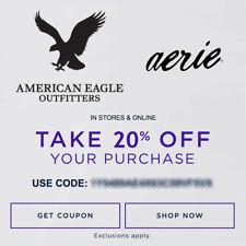 20% OFF American Eagle Outfitters & Aerie Promo-Coupon Code Ex 1/25/18