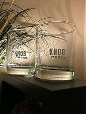Set of {2} Knob Creek 8 oz Glasses with outline of Knob Creek on each Glass.