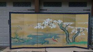 TANSEN(TSURUZAWA MORIYUKI d.1816)INK,COLOR&GOLD LEAF$ FRAGMENTS 6 PANEL SCREEN#2