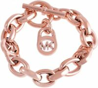 MICHAEL KORS LOGO CHAIN TOGGLE ROSE-GOLD TONE  BRACELET in Pouch NWT