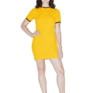 American Apparel Ribbed Knit Shirt Mini Dress Women Short Sleeve Yellow S