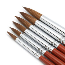 6 X Superior Kolinsky Sable Hair Pointed Round Artist Paint Brush 2/4/6/8/10/12