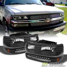 Black 1999-2002 Chevy Silverado 00-06 Suburban Tahoe Headlights+LED Bumper Lamps
