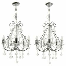 Pair of Crystal Chandeliers in Polished Chrome Ceiling Pendant Lights Lounge