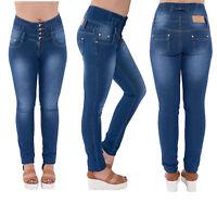 Ladies Womens Cotton Skinny High Waist Slim Fit Jeans Denim Trousers