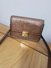 Mango Designer Ladies Womens Small Bronze Brown Metallic Bag Handbag