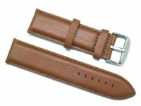 22mm Brown Leather Brown Stitching Replacement Watch Band - Tommy Hilfiger 22