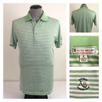 3efaaf47a Peter Millar Summer Comfort Mens M Green White Stripe Golf Polo Audubon CC  Shirt
