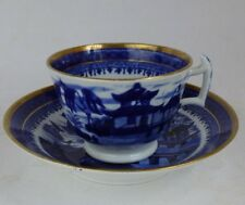 Staffordshire English porcelain Blue Willow cup & saucer 1820s antique Alcock