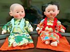 "Vintage Asian Japanese Ichimatsu Gofun Boy Dolls 10"" Composition Glass Eyes."