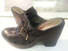 "Cole Haan Stephanie Black Leather High Heeled Clogs Size 8.5B ""CUTE"""