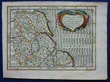 Antique atlas map NORTH EAST ENGLAND, Mercator, Cloppenburg, Janssonius, 1673