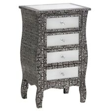 BLACK SILVER EMBOSSED MIRRORED GLASS TALL BOY CHEST DRAWERS (T4319) BALI