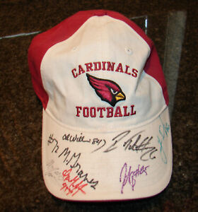 RARE! Cardinals Football Hat Cap SIGNED x7 Players! Preowned