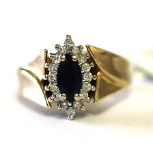 10k yellow gold ladies .25cttw SI2 H diamond blue sapphire ring 6.4g womens