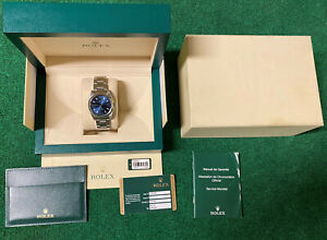 ROLEX 11420 Air King Oyster Perpetual OP 34mm Blue Dial Stainless Steel 34
