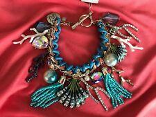 Betsey Johnson Glitter Reef Ocean Sea SPARKLY Coral Shell Jewel Bracelet $85