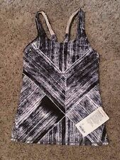 Holiday Sale! NWT LULULEMON CrossBack Tank - Size 6 - Black/White abstract