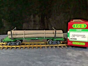 LGB G SCALE 4066 Log Car with Logs & Chains W/ Original Box  & Knuckle Couplings