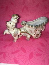Royal Empress Poodle Pulling Cart Planter Signed 6� x 3.5� Pink Nose & Paws