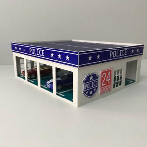 1:64 Police Garage Outland Models Miniatures Police Large Garage Assembly Model