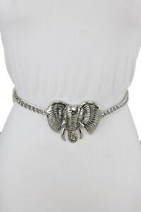 Sexy Women Silver Metal Chain Fashion Dressy Belt African Elephant Buckle XS S M