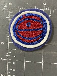 Vintage Varsity Letterman Jacket Basketball Blue White Red Patch Felt Chenille