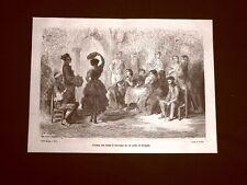 Incisione di Gustave Dorè del 1874 Gitana che balla il zorongo Siviglia Spagna