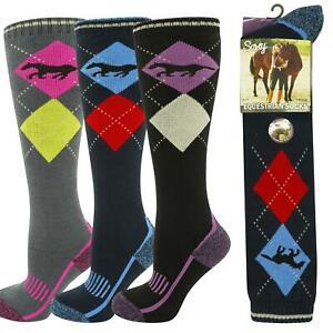 3 pack Soxy Ladies Equestrian Performance Riding Walking Argyle Comfy Socks