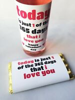 Today is just 1 day Valentines Gift Wine, Beer Bottle Label & Chocolate Wrapper
