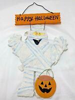 Happy Halloween Mummy w/ Pumpkin Jack O Lantern Wood Wall Hanging Home Decor