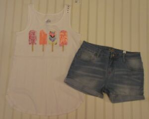 NWT Justice Girls Outfit Floral Peace SignTop//Shorts Size 8 14 16 18 20