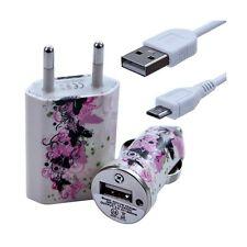 Mini Chargeur 3en1 Auto + Secteur USB + Câble Data avec CV14 pour HTC : One /