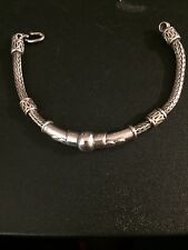 "Sterling Silver Byzantine Bali Weave Bangle Chain Bracelet 32g 7"" Long"