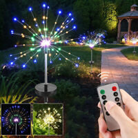 Solar Lawn Lamp Firework LED Fairy String Light 8Modes Remote Party Xmas Decor