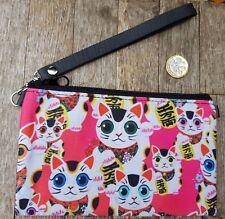 Pink Maneki Neko Lucky Cat Cartera-japonés gatito kawaii Negro Embrague Bag